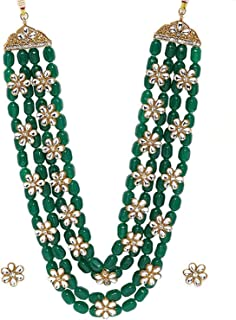 Aheli Kundan Pearl Long Multi Layered Necklace Earrings Set Indian Wedding Jewelry for Women Girls (White)