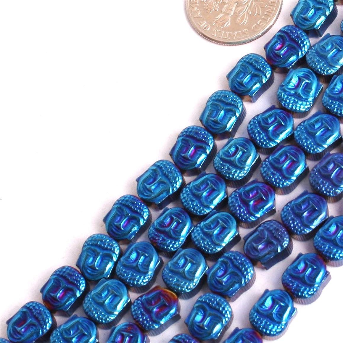 GEM-inside Hematite Gemstone Loose Beads Mala Buddha Blue Metallic Coated Crystal Energy Stone Power For Jewelry Making 15