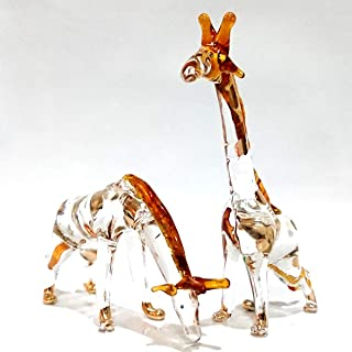 Sansukjai 2 Giraffes Miniature Figurines Animals Hand Blown Glass Art 22k Gold Trim Collectible Gift Decorate, Clear Amber