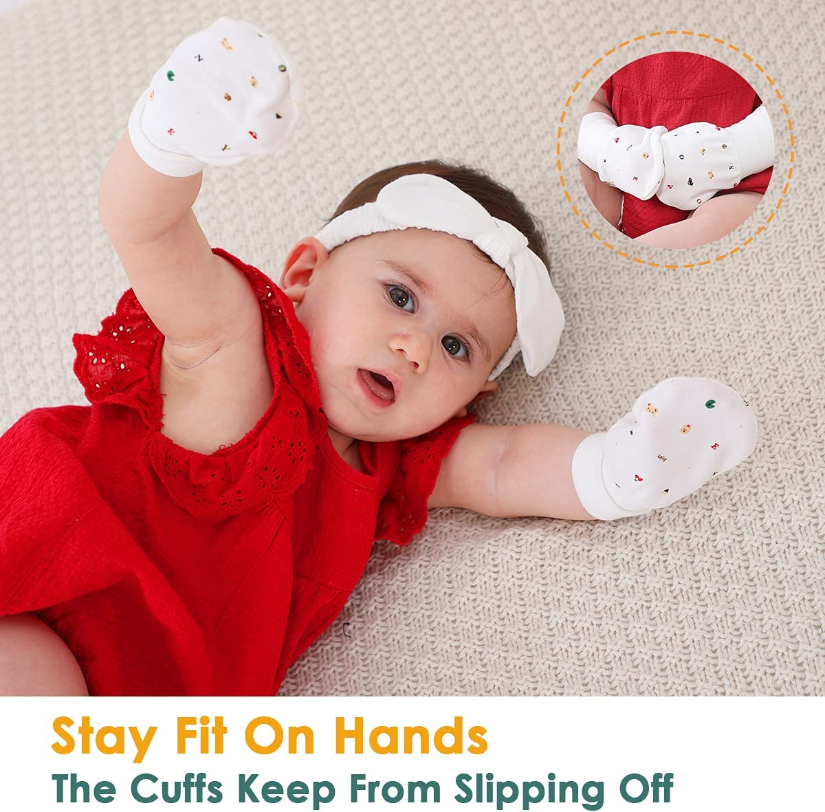 Baby Mittens Anti Scratch Baby Girl Mittens No Scratch Mittens Baby Boys Hands Gloves for 6~12 Months Boys Girls (6 Pairs-L)