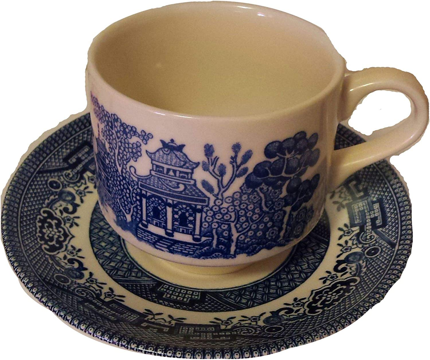 Churchill Made in England Blue Max 54% OFF Animer and price revision Willow Saucer Pattern Cup Tea