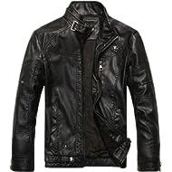 chouyatou Men's Vintage Stand... chouyatou Men's Vintage Stand Collar Pu Leather Jacket