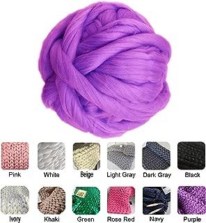 clootess Chunky Merino Wool Yarn Bulky Big Roving for DIY Hand Made Knit Blanket Throw - Purple 8 lbs