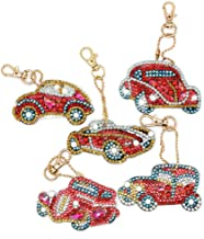 Keychain Pendant Kits DIY Diamond Painting Kits for Kids, Full Drill Stick Paint with Diamonds by Numbers Car 5 Pack by SimingD