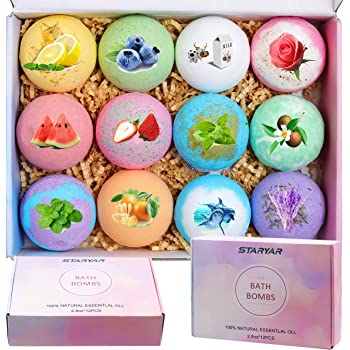 Bath Bombs Gift Set,Handmade Bubble Bath Bomb with Essential Oil, Shea Butter, Coconut Oil,Lavender Flower,Perfect for Spa or Bubble Bath,Best Birthday Gift for Kids/Women/Men, Mother's Day…