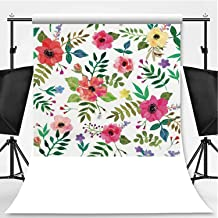 Seamless Floral Background Theme Backdrop Backdrop Background for Photography,Isolated red Flowers and Leafs Drawn Watercolor,8.2x8.2ft