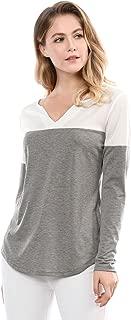 Women's Henley Split V-Neck Tops Long Sleeve Color Block T-Shirt