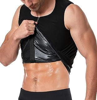 FLORATA Men Waist Trainer Vest Hot Sweat Sauna Suit Corset Body Shaper Zipper Tank Top Workout Shirt