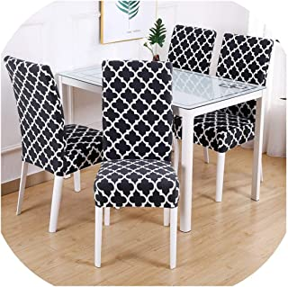 Rchhy 1/2/4/6PCS Flower Printed Geometric Kitchen Chair Covers Spandex Elastic Stretch Decoration Chair Dining Seat Cushion Anti Dirty,Pattern 5,2pieces