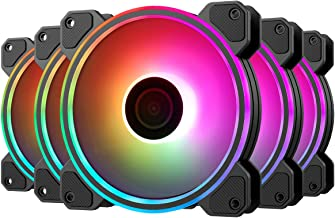 GIM KB-24 RGB Case Fans, 5 Pack 120mm Quiet Computer Cooling PC Fans, 5V ARGB Addressable Motherboard SYNC/RC Controller, Colorful Silent Cooler Adjustable with Fan Control Hub