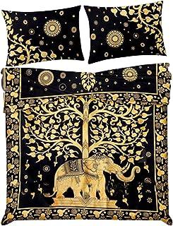 Marusthali Funda nórdica Elephant Tree of Life con Fundas de Almohada Funda Donna Funda de edredón Manta Tapicería Colcha Funda nórdica Hippie Juego de Cama en una Bolsa con sábana