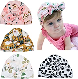 REOVE 4 Pieces Baby Turban Hats Knot Headband Newborn Infant Baby Girl Soft Cute Toddler Cap Hair Accessories