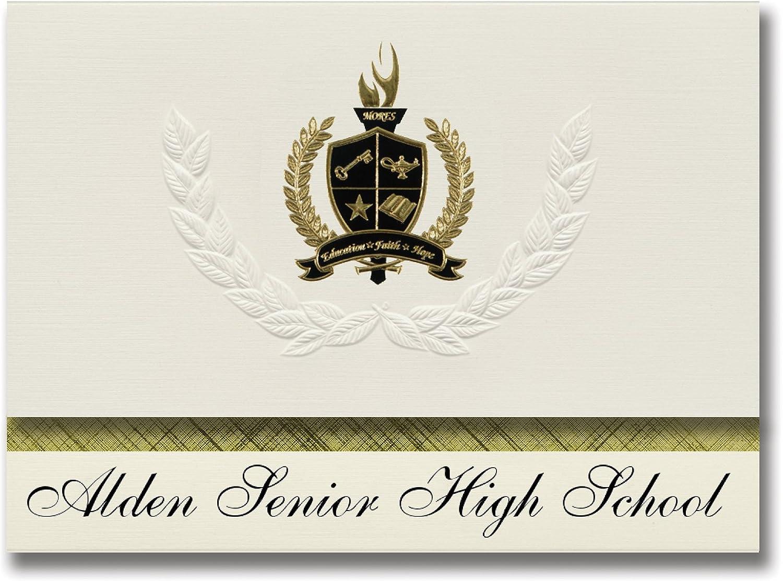 Signature Ankündigungen Alden Alden Alden Senior High School (Alden, NY) Graduation Ankündigungen, Presidential Stil, Elite Paket 25 Stück mit Gold & Schwarz Metallic Folie Dichtung B078VD94C4 | Online Shop Europe  7a06bd