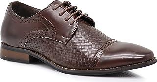 Enzo Romeo GVR Men Dress Lace Up Cap Toe Woven Oxfords Formal Business Designer Dress Shoes
