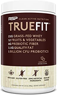 RSP TrueFit - Grass Fed Lean Meal Replacement Protein Shake, All Natural Whey Protein Powder with Fiber & Probiotics, Non-GMO, Gluten-Free & No Artificial Sweeteners, 2.0 LB Choc (Packaging May Vary)