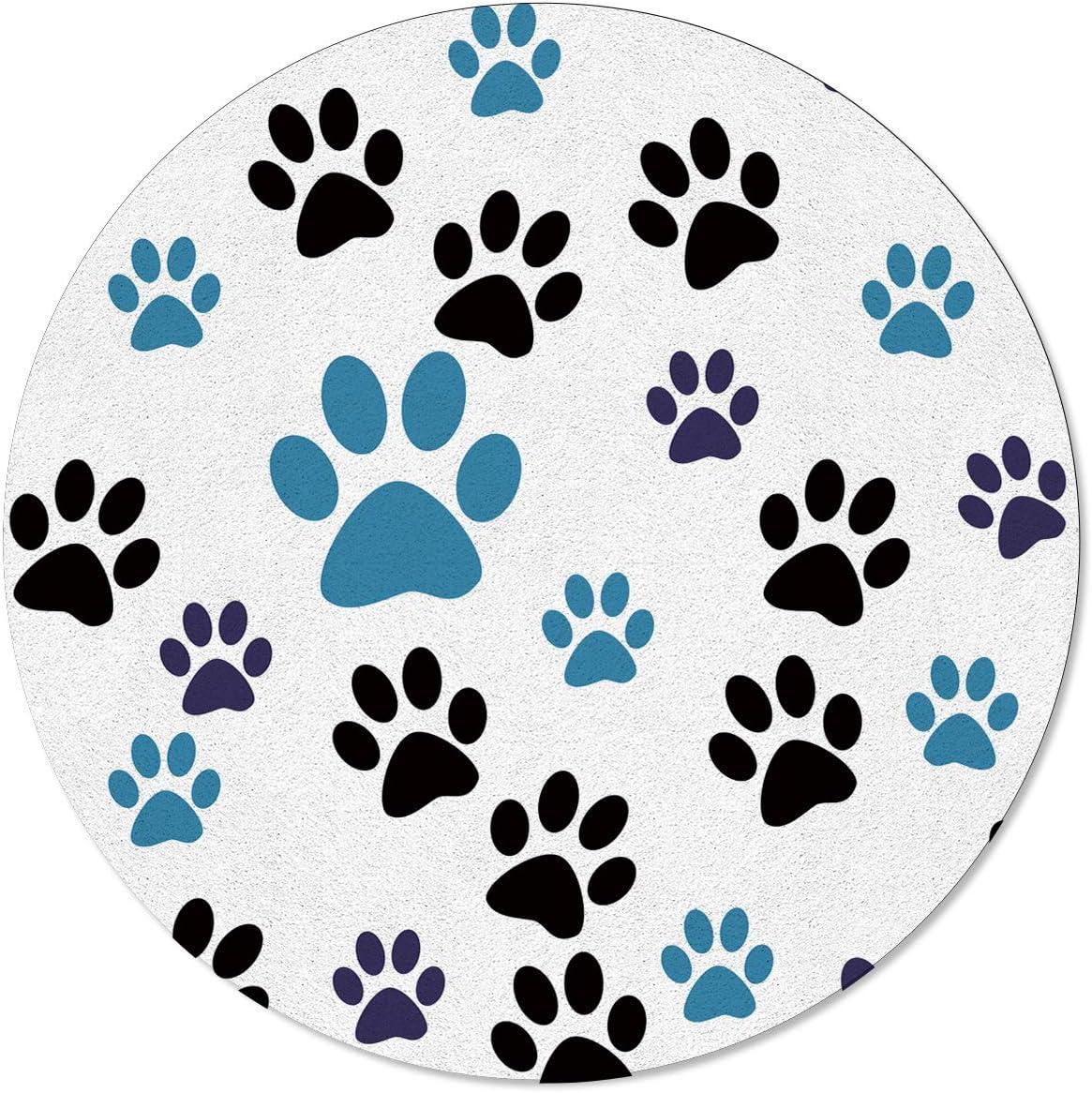 OneHoney Animal Dog's Paw Print Round 超定番 全品送料無料 3.3 Feet Rugs Indoor Area