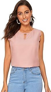 SheIn Women's Elegant Scalloped Sleeveless Keyhole Front Blouse Top