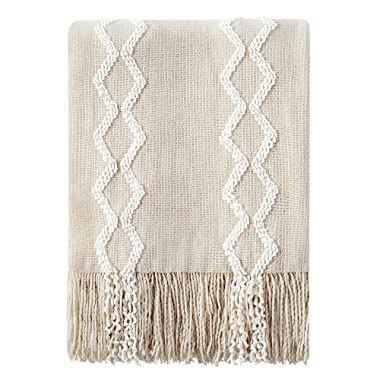 Bourina Fluffy Chenille Knitted Fringe Throw Blanket Lightweight Soft Cozy for Bed Sofa Chair Throw Blankets, 50  x 60 ,Beige