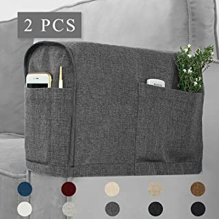Guken Linen Fabric Chair Covers for Living Room Sofa Armchair Covers Anti-Slip Armrest Covers Armchair Slipcover Protector for Recliner Sofa with 4 Pockets for Set of 2 Pieces Grey