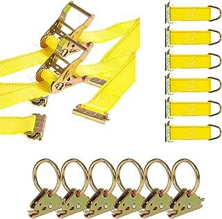 DC Cargo Mall E Track Tie-Down Kit - 8 Pieces: E-Track Accessories | Includes 12 ft E Track Straps and O-Rings (E-Track Ra...