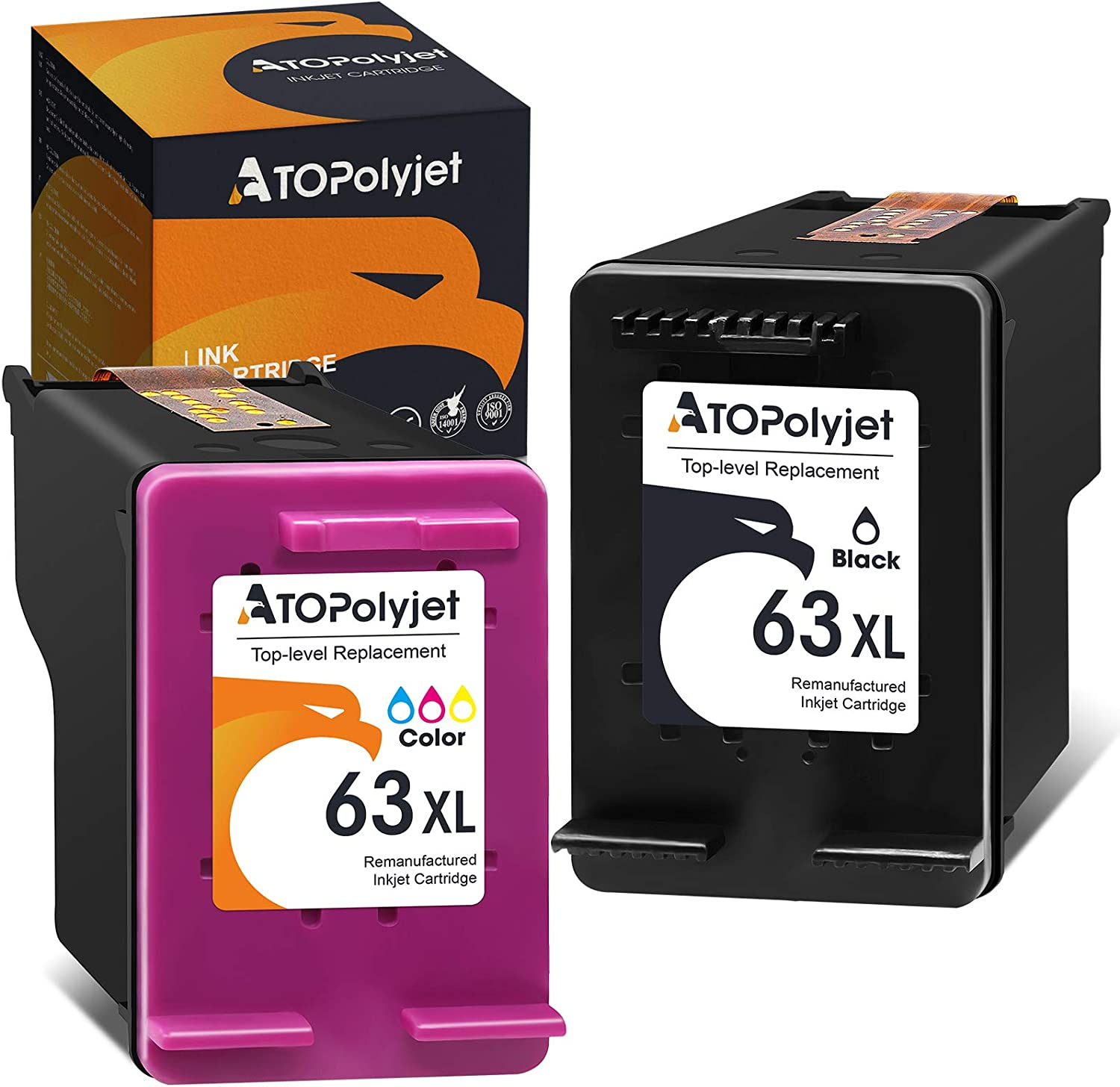 ATOPolyjet Raleigh Albuquerque Mall Mall Remanufactured Ink Cartridge for HP 63XL Replacement