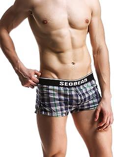 SEOBEAN Men's Low Rise Trunk Boxer Brief Shorts Lounge Underwear