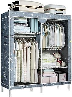 Wardrobe خزانة خزانة خزانة محمولة مع قضبان غير منسوجة وتعليقها للتجميع السريع والسهل والرمادي Portable Closet Storage Orga...