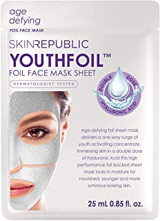 Skin Republic Korean Foil Hyaluronic Mask - Includes 2 Masks Individually Packaged - Youthfoil Hyaluronic Acid Face Mask