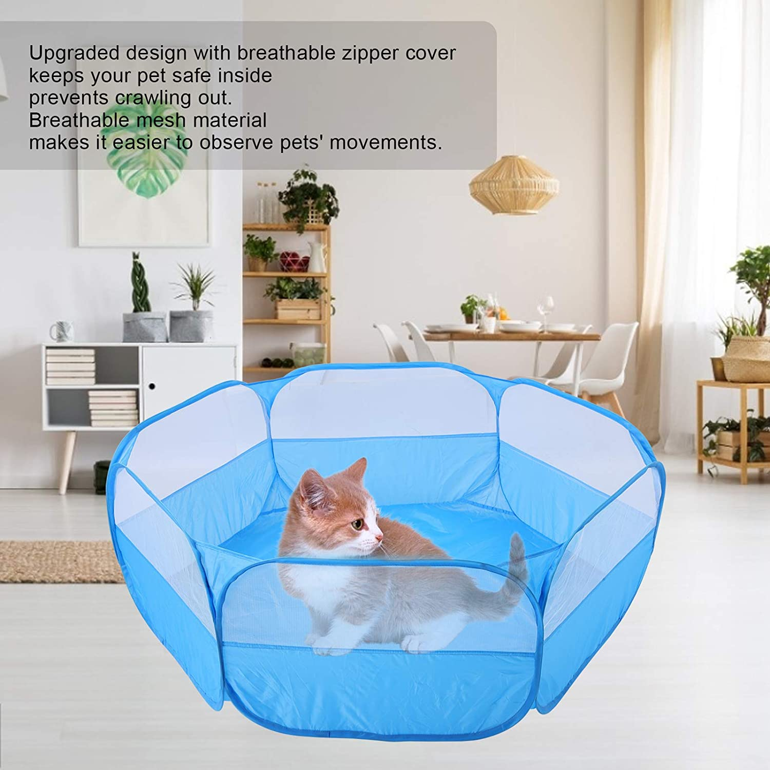 Blue Small Animal Playpen Waterproof Small Pet Cage Tent Foldable Pet Cage with Top Cover Anti Escape for Kitten Puppy Guinea