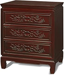 China Furniture Online Rosewood Night Stand, 22 Inches Hand Carved Flower and Birds Motif End Cabinet in Dark Cherry Finish
