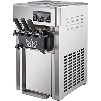 JIAWANSHUN 110V 60HZ 1050W Commercial Counter Top Single Flavor 12L Soft Serve Ice Cream Machine with Stainless Steel SUS-304 Outer Casing