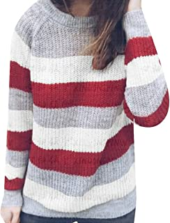 fanmeili-AU Womens Casual Stripe Color Block O Neck Knitting Sweater