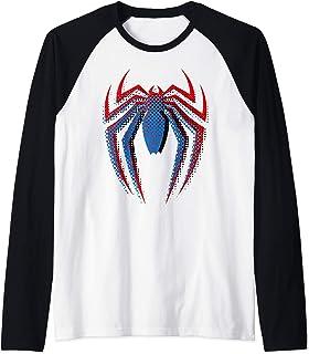 Marvel Spider-Man Dot Build-Up Logo Manche Raglan