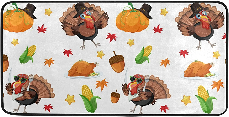 Turkey Fall Happy Thanksgiving Kitchen Rug Floor Ranking TOP3 Inc Mat Translated x 20 39