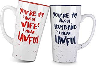 LIFVER Couples Mug Sets, Novelty Wedding Gifts for Bride and Groom, Great Gift for Any Couple, Porcelain Mugs for Microwave, 16 Ounces, Set of 2, Blue and Red