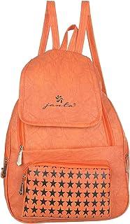 JANTA PU Leather shoulder Backpack Women's,college bag for Girls-(ORange-3220)