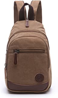 Lightweight Mini Canvas Backpack for Women Girls Purse Small Rucksack Sling Bag (Small, Coffee 2)