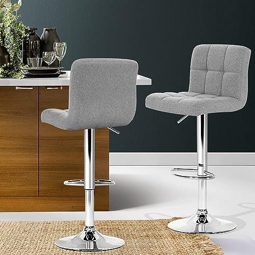 Artiss 2 x Adjustable Bar Stool Swivel Counter Bar Chair Fabric Kitchen Dining Stool, Grey