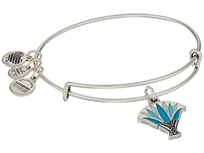 Alex and Ani Blue Lotus Bangle (Rafaelian Silver) Bracelet