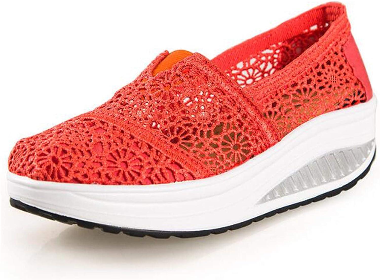 HANGGE& Women Casual shoes 2017 Spring Summer Breathable lace Canvas shoes Women Platform Slip-on Solid Wedges shoes orange 7