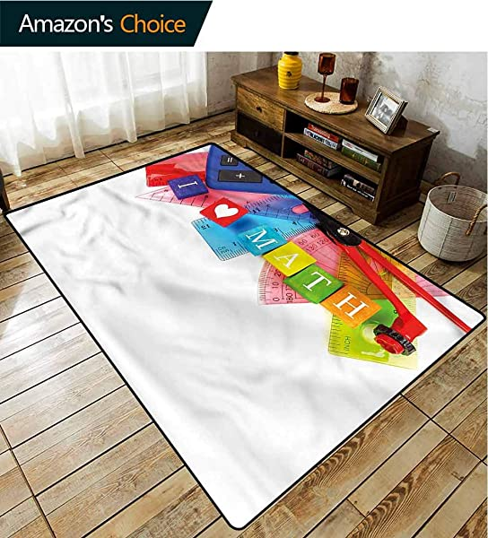 TableCoversHome Mathematics Classroom Sports Area Rug Pad I Love Math Pattern Printing Carpet Durable Carpet Area Rug Living Dinning Room Bedroom Rugs And Carpets 3 X 5