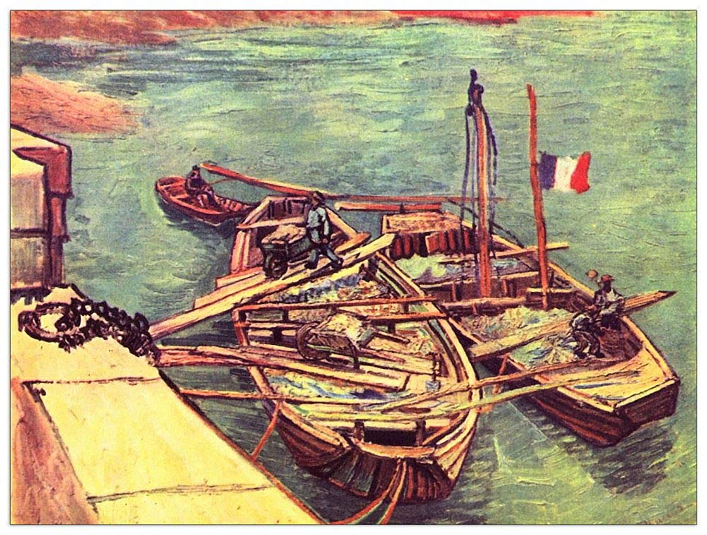 ArtPlaza TW91032 Van Gogh Vincent-Boats with Sand Decorative Panel, 35.5x27.5 Inch, Multicolored