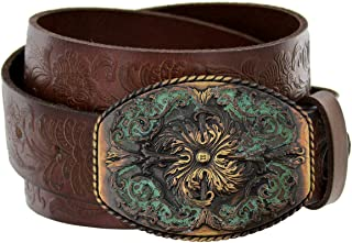 """Adjustable Stretch Belt: No Show Flat Buckle, Non-Slip Backing Women's Signature Casual Belt Women's Hollow Flower Leather Belt for Jeans Pants Wide Belt for Ladies 2 Pieces Women Leather Belt Faux Leather Waist Belts with Double O-Ring Buckle Women's Western Tooled Full Grain Leather Jean Belt Black Brown 1.5"""" (38mm) Wide"""