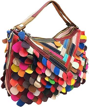 Heshe Women's Multi-color Leather Handbags Totes Top Handle Bag Shoulder Bags Ladies Purses Cross Body Bag