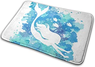 YINCHAOJI Bathroom Rugs Bath Mat Mermaid Sea Theme Mats Memory Foam Front Kitchen Rug Carpet for Kitchen Hall Inside Outdo...