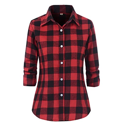 1f90eb98bd88b Benibos Women s Check Flannel Plaid Shirt