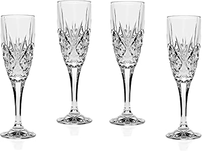Le'raze Crystal Champagne Toasting Flutes, Elegant Champagne Glasses with Diamond Patterned Design Ideal for Wedding, Party Essentials, Wine Gifts – Set of 4 Stemmed Glass Flutes