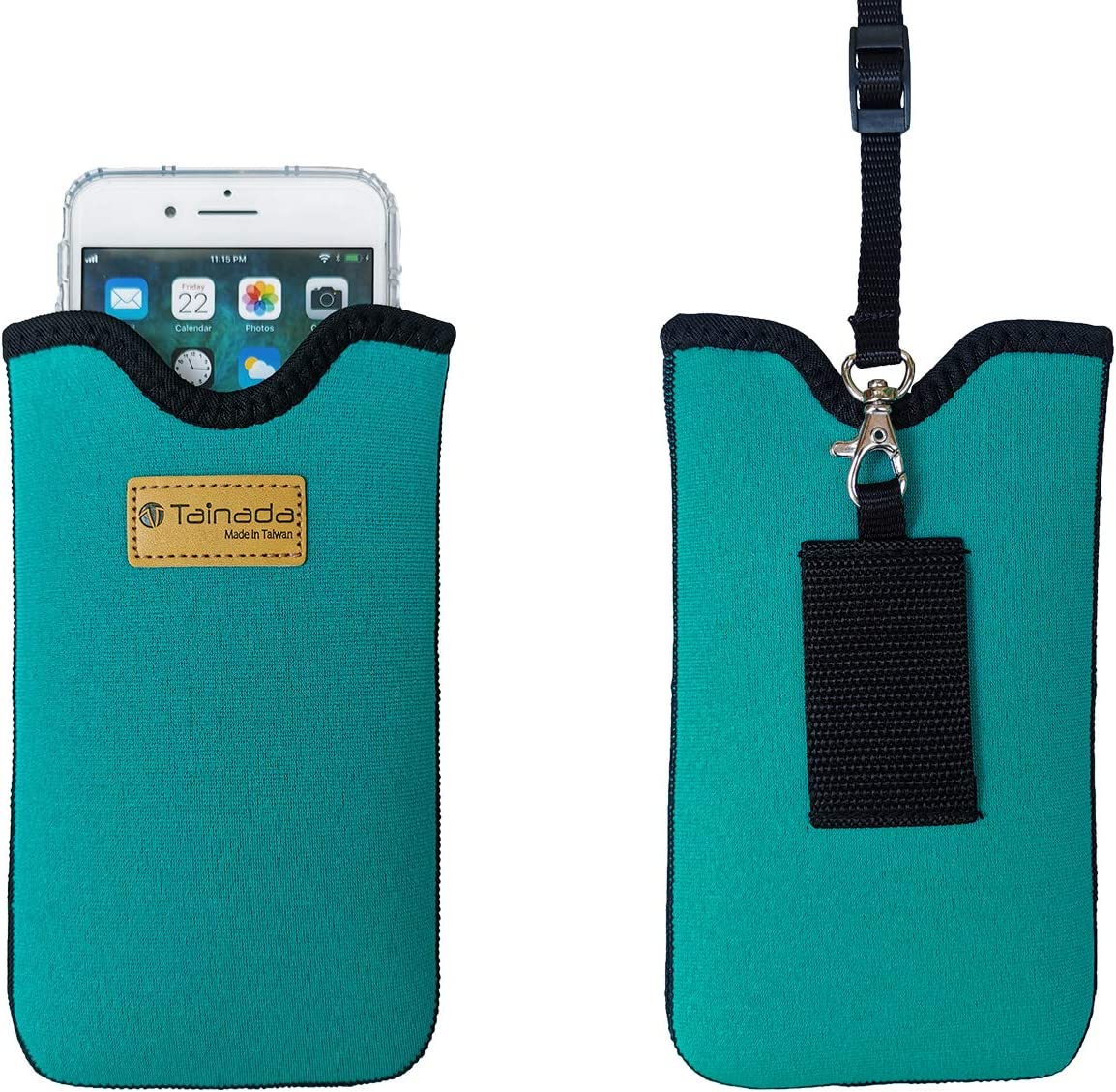 Tainada Men Women Neoprene Shockproof Phone Sleeve Pouch Carrying Case with Neck Lanyard, Belt Loop Holster for iPhone 13 / 12, 13 / 12 Pro Max, 11, Samsung S21+, A52, Google Pixel 5a 5G (Turquoise)
