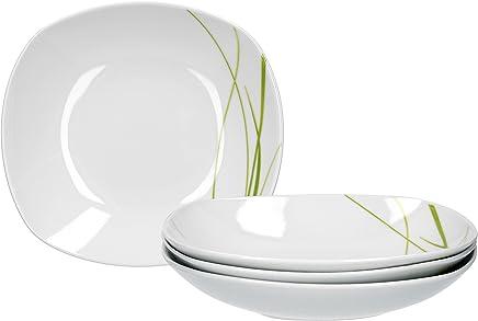 Preisvergleich für Van Well Bali 4er Set Suppenteller, Salatteller, tiefer Teller, Ø 21,5cm, Liniendekor, edles Marken-Porzellan