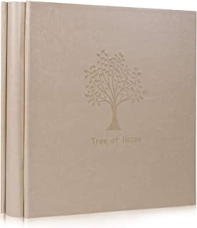 RECUTMS Tree Pattern Plain LeatherCover Photo Album 600 Pockets Hold 4x6 Photos,5 Pockets Per Page Memo Extra Large Capacity for Family Wedding Anniversary Baby Vacation (Creamy-White )
